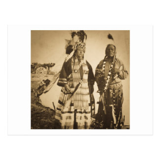 Blackfoot Indians Chief and Warrior Vintage Postcard