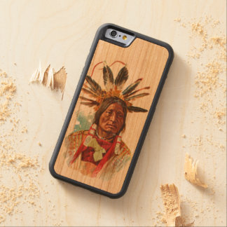 Blackfoot Sioux Chief: Many Horns Carved Cherry iPhone 6 Bumper Case