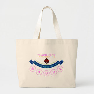 Blackjack board surface design 2 large tote bag