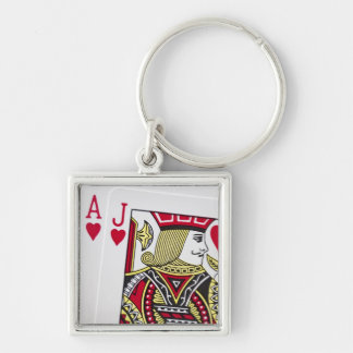 Blackjack Hand - Ace and Jack (5) Silver-Colored Square Keychain