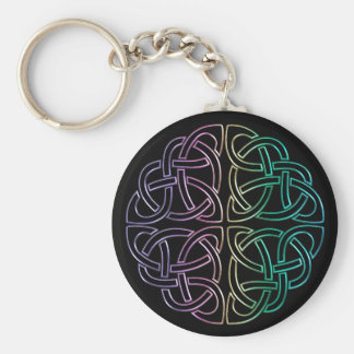 Blacklight Rainbow Celtic Knot Keychain