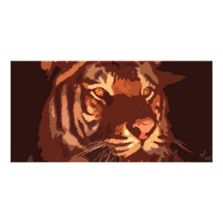 Blacklight Tiger Face Photo Greeting Card