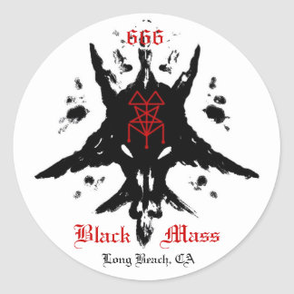 blackmassinkblot, 666, Mass, Black, Long Beach, CA Round Sticker
