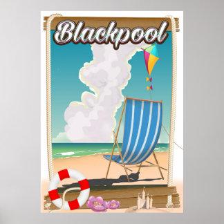 Blackpool beach seaside travel poster