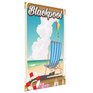 Blackpool beach seaside travel poster canvas print