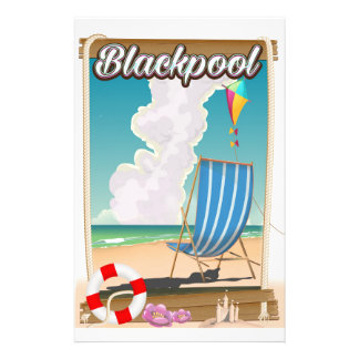 Blackpool beach seaside travel poster stationery