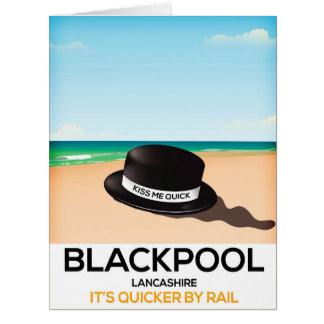 "Blackpool ""kiss me quick"" hat travel rail poster card"