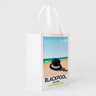 """Blackpool """"kiss me quick"""" hat travel train poster reusable grocery bag"""