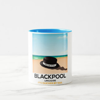 "Blackpool ""kiss me quick"" hat travel train poster Two-Tone coffee mug"