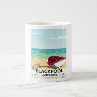 Blackpool,lancashire, rail poster large coffee mug
