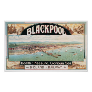 Blackpool Travel and Tourism Vintage Poster Print