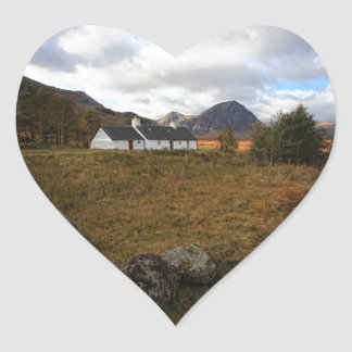 Blackrock Cottage, Glencoe, Scotland Heart Sticker