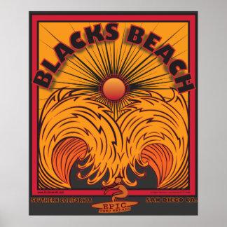 BLACK'S BEACH SAN DIEGO CALIFORNIA SURFING POSTER