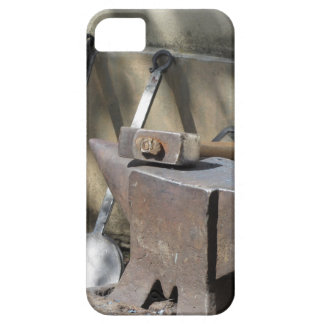 Blacksmith hammer resting on the anvil case for the iPhone 5