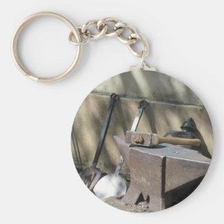 Blacksmith hammer resting on the anvil keychain