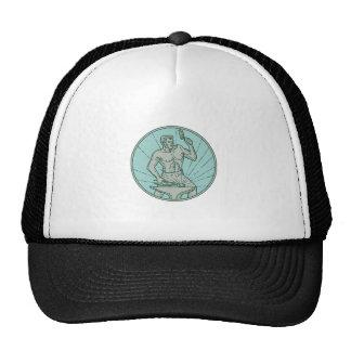 Blacksmith Hammering Anvil Circle Mono Line Trucker Hat