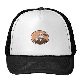 Blacksmith Holding Sledgehammer Woodcut Trucker Hat