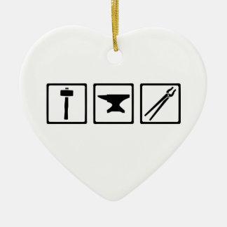Blacksmith tools ceramic heart ornament