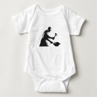 Blacksmith Worker Forging Iron Black and White Woo Baby Bodysuit