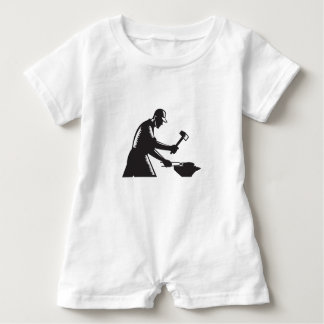 Blacksmith Worker Forging Iron Black and White Woo Baby Romper
