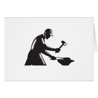 Blacksmith Worker Forging Iron Black and White Woo Card