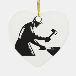 Blacksmith Worker Forging Iron Black and White Woo Ceramic Heart Ornament
