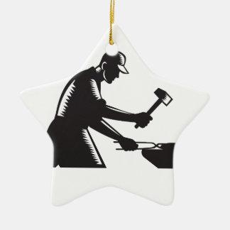 Blacksmith Worker Forging Iron Black and White Woo Ceramic Star Ornament
