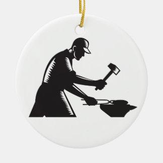 Blacksmith Worker Forging Iron Black and White Woo Round Ceramic Ornament