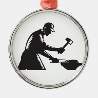Blacksmith Worker Forging Iron Black and White Woo Silver-Colored Round Ornament