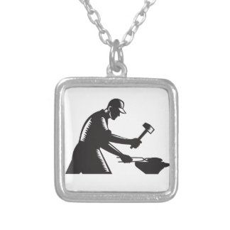 Blacksmith Worker Forging Iron Black and White Woo Silver Plated Necklace