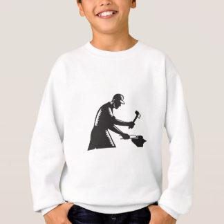 Blacksmith Worker Forging Iron Black and White Woo Sweatshirt