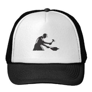 Blacksmith Worker Forging Iron Black and White Woo Trucker Hat