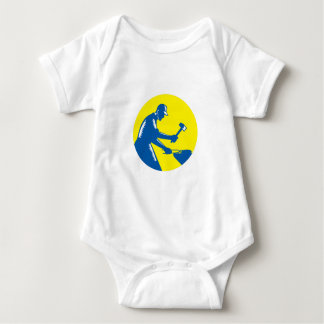 Blacksmith Worker Forging Iron Circle Woodcut Baby Bodysuit