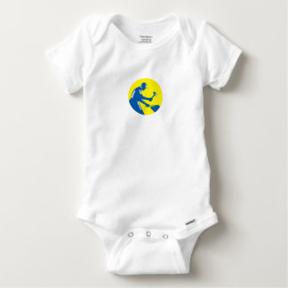 Blacksmith Worker Forging Iron Circle Woodcut Baby Onesie