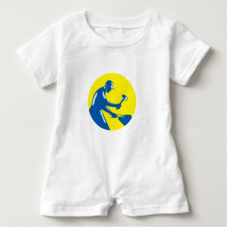 Blacksmith Worker Forging Iron Circle Woodcut Baby Romper