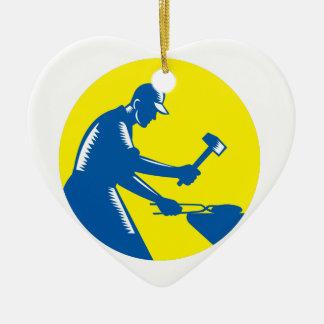Blacksmith Worker Forging Iron Circle Woodcut Ceramic Heart Ornament