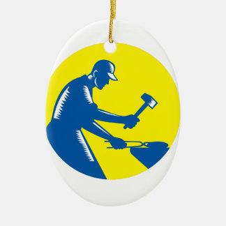 Blacksmith Worker Forging Iron Circle Woodcut Ceramic Oval Ornament