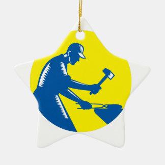 Blacksmith Worker Forging Iron Circle Woodcut Ceramic Star Ornament