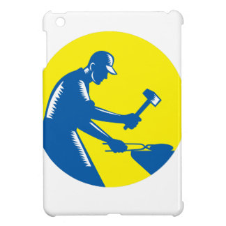 Blacksmith Worker Forging Iron Circle Woodcut iPad Mini Cases
