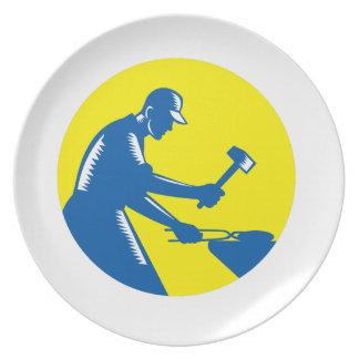 Blacksmith Worker Forging Iron Circle Woodcut Plate