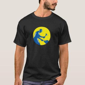 Blacksmith Worker Forging Iron Circle Woodcut T-Shirt