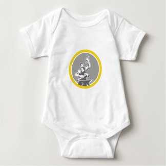Blacksmith Worker Holding Pliers Anvil Circle Retr Baby Bodysuit