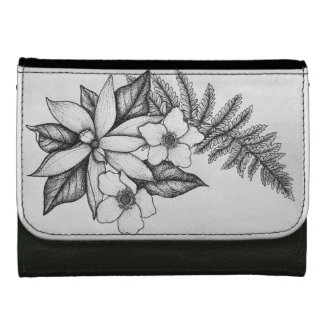 Blackwork Flower Wallet