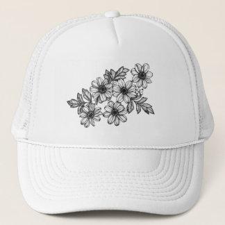 Blackwork Flowers Trucker Hat