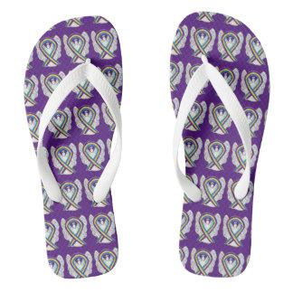 Bladder Cancer Awareness Ribbon Angel Flip Flops