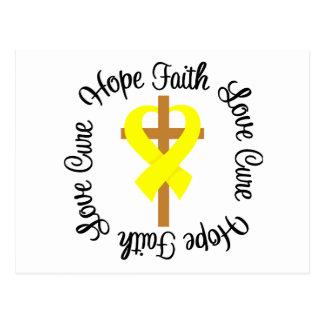 Bladder Cancer Faith Hope Love Cross Postcard