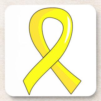 Bladder Cancer Yellow Ribbon 3 Coasters