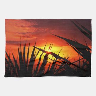 Blades of grass sunset beautiful scenery kitchen towel