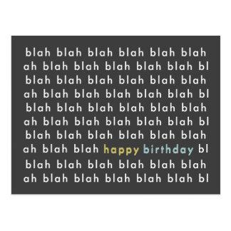 Blah Blah Blah Happy Bday Typography Postcard
