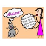 """Blah Blah Blah--Whatever!""--Cat Lovers Gifts Postcard"